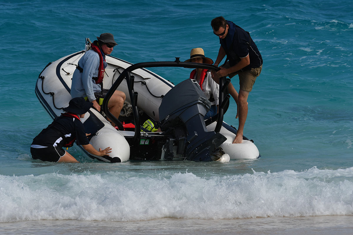 Landing in the surf on Coringa Islet
