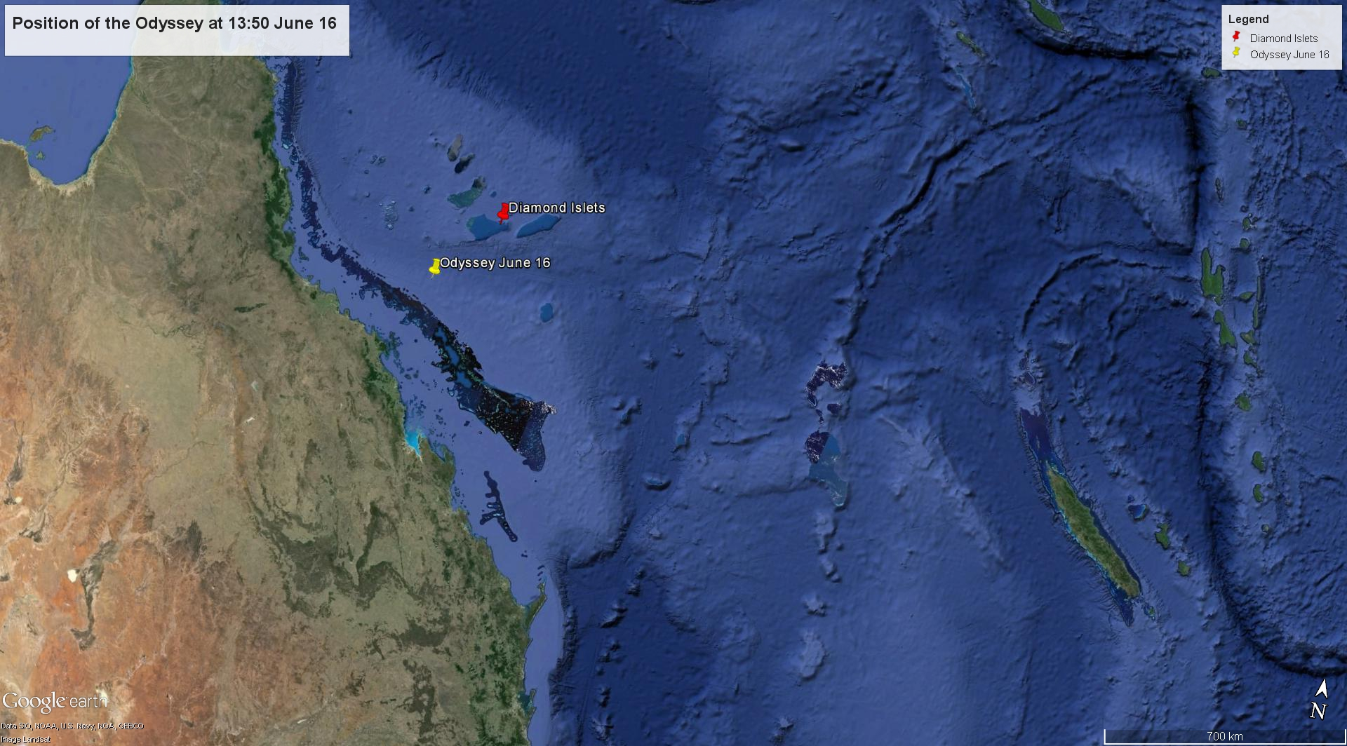 The position of the Odyssey on Thursday June 16 - Google Earth view. Note New Caledonia at far left.