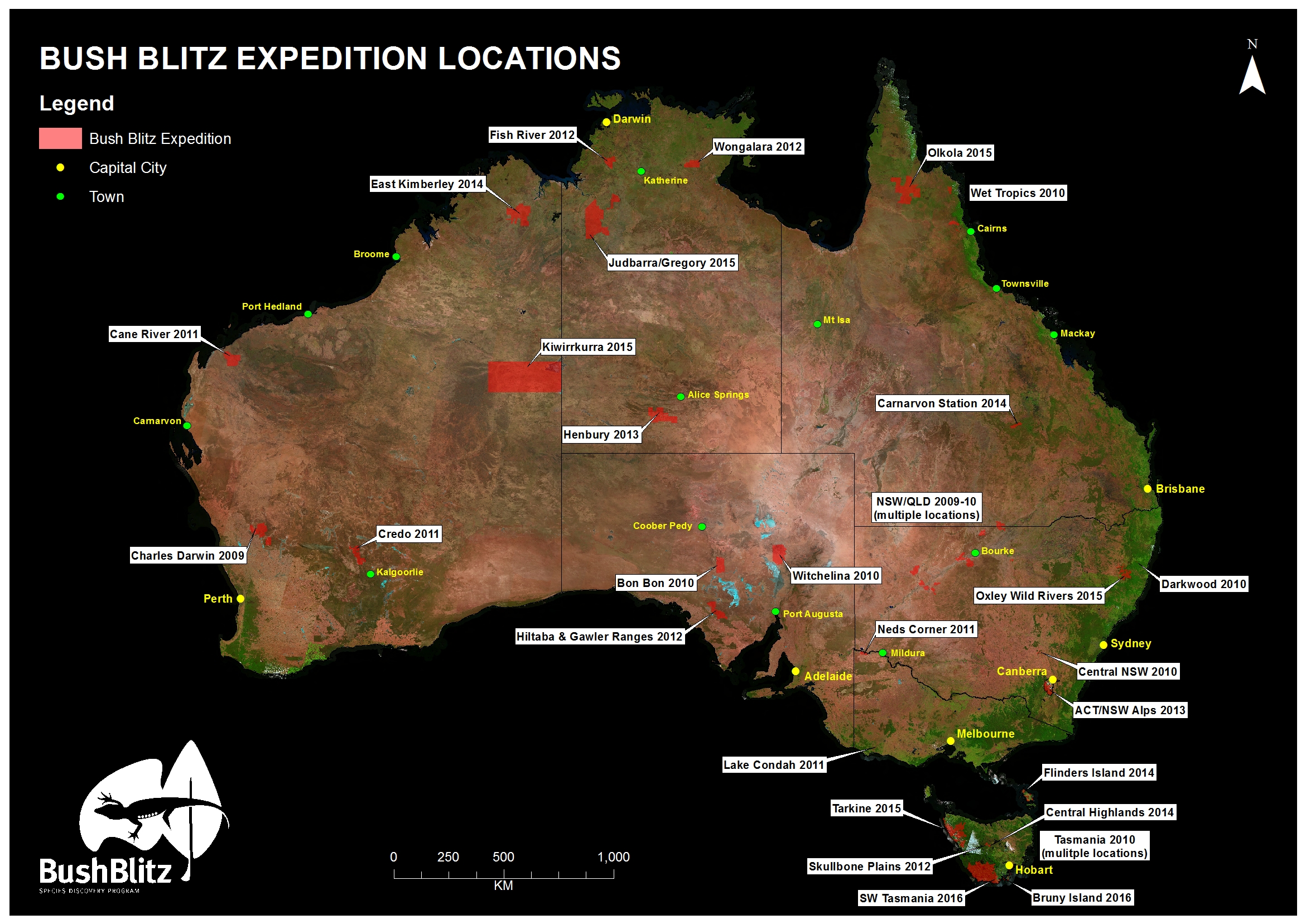 Bush Blitz locations as of March 2016 A0 satellite 50 dpi