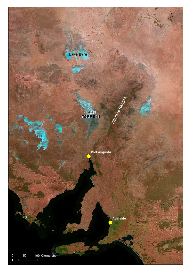 Location of Lake Torrens, the second largest salt lake in Australia. Salt lakes such as Eyre and Torrens look blue in this satellite imagery.