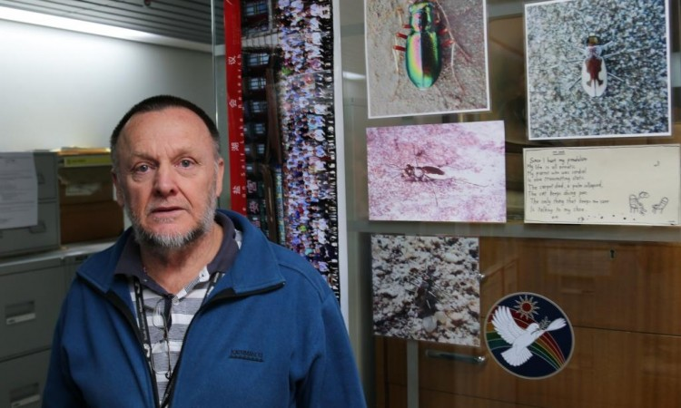 Peter Hudson and his office door, featuring photos of Tiger Beetles and other salt lake invertebrates.