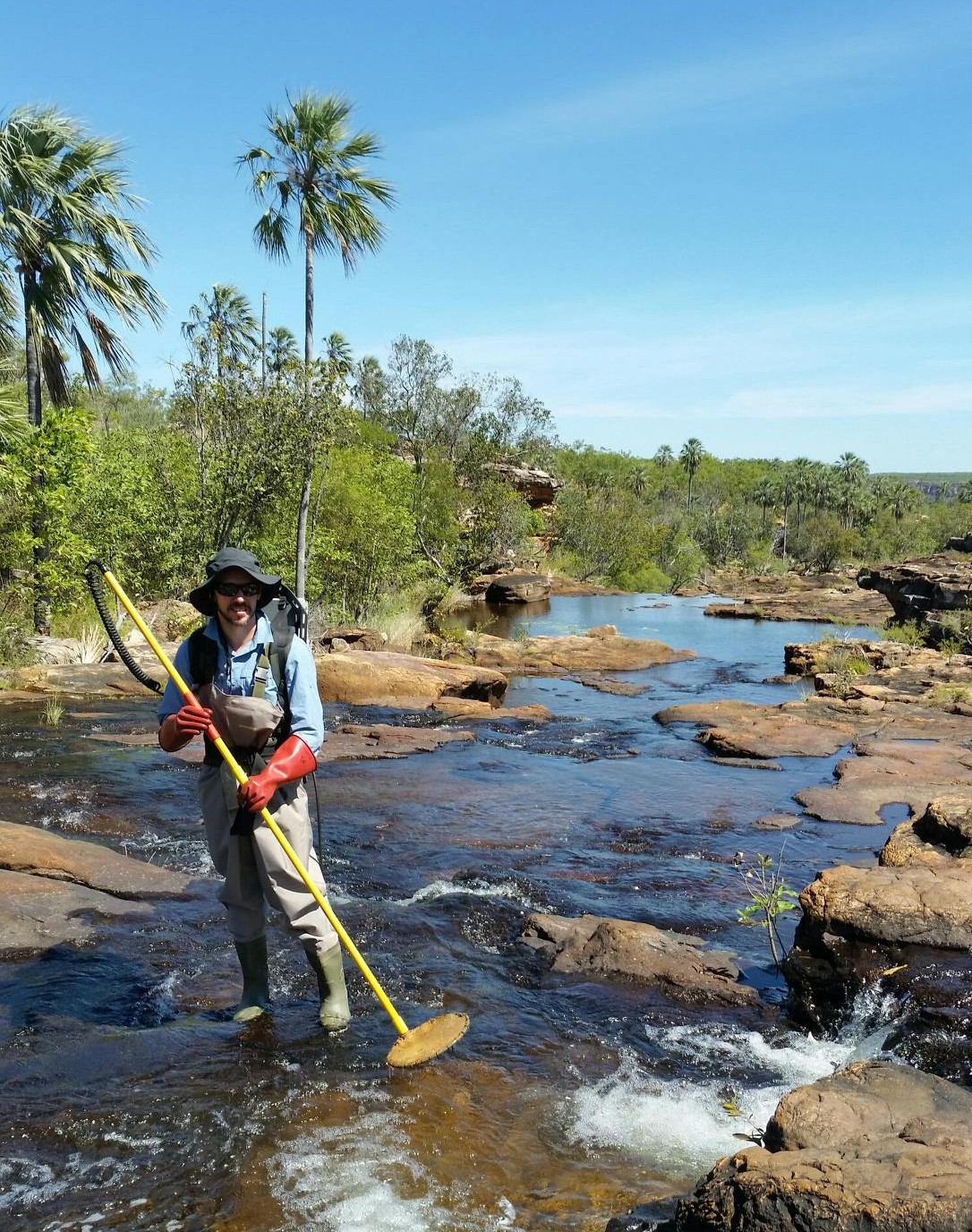 Dr Michael Hammer, NT Museum and Art Gallery, electro fishing.