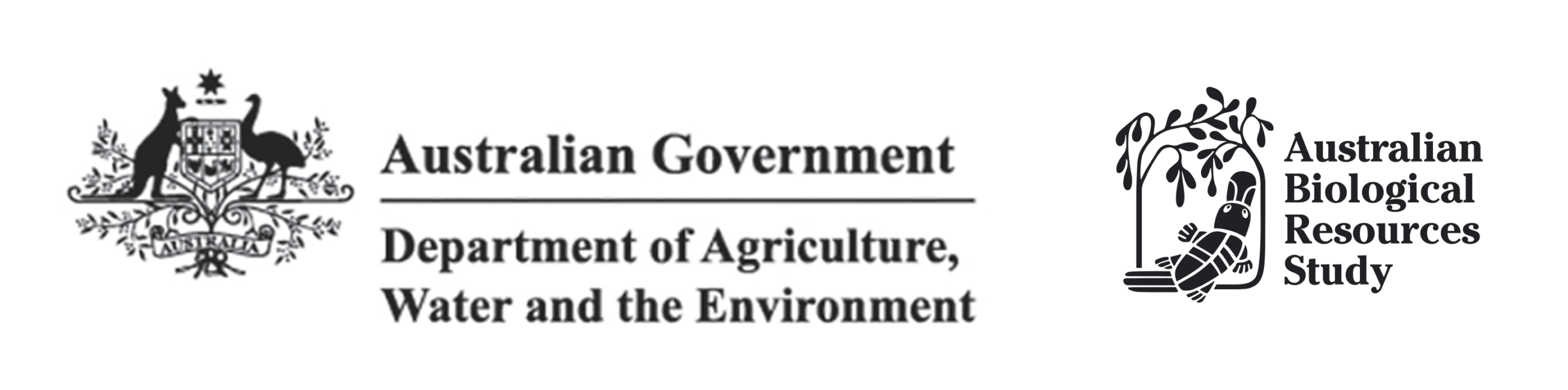 Logos for the Department of Agriculture, Water and the Environment; and, Australian Biological Resoruces Study (ABRS).