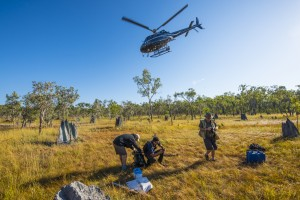 Scientists and ranger in the field