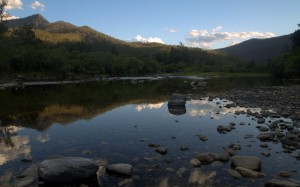 McLeay River with reflections at sunset (cropped to more panoramic)